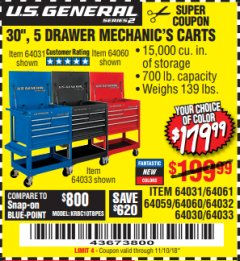 "Harbor Freight Coupon 30"", 5 DRAWER MECHANIC'S CARTS (RED, BLUE & BLACK) Lot No. 64031/64033/64032/64030/61427/64059/64060/64061/63308/95272 Expired: 11/10/18 - $179.99"