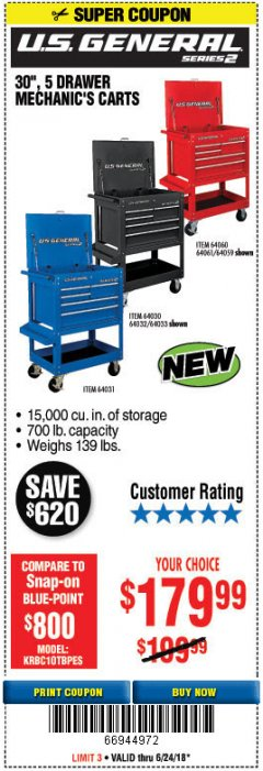"Harbor Freight Coupon 30"", 5 DRAWER MECHANIC'S CARTS (RED, BLUE & BLACK) Lot No. 64031/64033/64032/64030/61427/64059/64060/64061/63308/95272 Expired: 6/24/18 - $179.99"