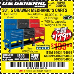 "Harbor Freight Coupon 30"", 5 DRAWER MECHANIC'S CARTS (RED, BLUE & BLACK) Lot No. 64031/64033/64032/64030/61427/64059/64060/64061/63308/95272 Expired: 10/26/18 - $179.99"