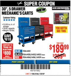 "Harbor Freight Coupon 30"", 5 DRAWER MECHANIC'S CARTS (RED, BLUE & BLACK) Lot No. 64031/64033/64032/64030/61427/64059/64060/64061/63308/95272 Expired: 7/29/18 - $189.99"