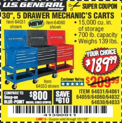 "Harbor Freight Coupon 30"", 5 DRAWER MECHANIC'S CARTS (RED, BLUE & BLACK) Lot No. 64031/64033/64032/64030/61427/64059/64060/64061/63308/95272 Expired: 12/1/18 - $189.99"