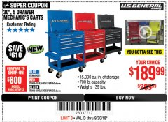 "Harbor Freight Coupon 30"", 5 DRAWER MECHANIC'S CARTS (RED, BLUE & BLACK) Lot No. 64031/64033/64032/64030/61427/64059/64060/64061/63308/95272 Expired: 9/30/18 - $189.99"