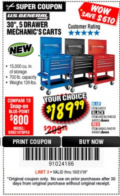 "Harbor Freight Coupon 30"", 5 DRAWER MECHANIC'S CARTS (RED, BLUE & BLACK) Lot No. 64031/64033/64032/64030/61427/64059/64060/64061/63308/95272 Expired: 10/21/18 - $189.99"