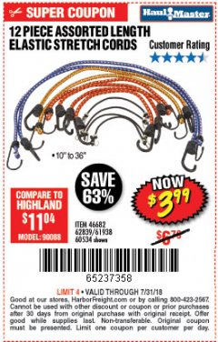 Harbor Freight Coupon 12 PIECE ASSORTED LENGTH ELASTIC STRETCH CORDS Lot No. 46682/60534/61938/62839 Expired: 7/31/18 - $3.99