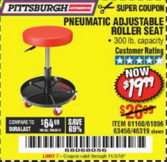 Harbor Freight Coupon PNEUMATIC ADJUSTABLE ROLLER SEAT Lot No. 61160/61896/63456/46319 Expired: 11/3/18 - $19.99
