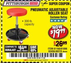 Harbor Freight Coupon PNEUMATIC ADJUSTABLE ROLLER SEAT Lot No. 61160/61896/63456/46319 Expired: 12/28/18 - $19.99