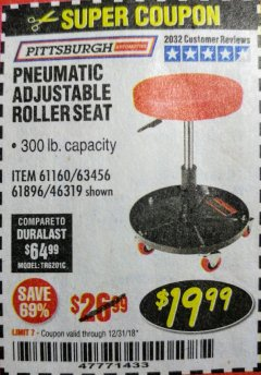 Harbor Freight Coupon PNEUMATIC ADJUSTABLE ROLLER SEAT Lot No. 61160/61896/63456/46319 Expired: 12/31/18 - $19.99