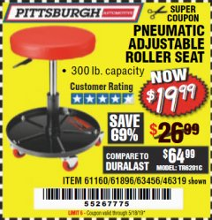 Harbor Freight Coupon PNEUMATIC ADJUSTABLE ROLLER SEAT Lot No. 61160/61896/63456/46319 Valid Thru: 5/18/19 - $19.99