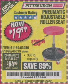 Harbor Freight Coupon PNEUMATIC ADJUSTABLE ROLLER SEAT Lot No. 61160/61896/63456/46319 Valid Thru: 4/13/19 - $19.99