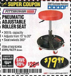 Harbor Freight Coupon PNEUMATIC ADJUSTABLE ROLLER SEAT Lot No. 61160/61896/63456/46319 Expired: 4/30/19 - $19.99