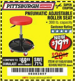 Harbor Freight Coupon PNEUMATIC ADJUSTABLE ROLLER SEAT Lot No. 61160/61896/63456/46319 Expired: 8/5/19 - $19.99