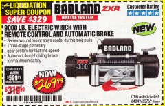 Harbor Freight Coupon BADLAND ZXR9000 9000 LB WINCH Lot No. 64047/64048/64049/63769 Expired: 6/30/18 - $269.99