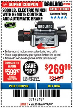 Harbor Freight Coupon BADLAND ZXR9000 9000 LB WINCH Lot No. 64047/64048/64049/63769 Expired: 6/24/18 - $269.99