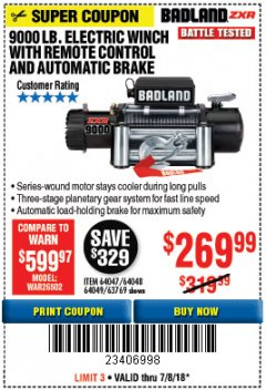 Harbor Freight Coupon BADLAND ZXR9000 9000 LB WINCH Lot No. 64047/64048/64049/63769 Expired: 7/8/18 - $269.99