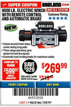 Harbor Freight Coupon BADLAND ZXR9000 9000 LB WINCH Lot No. 64047/64048/64049/63769 Expired: 7/22/18 - $269.99