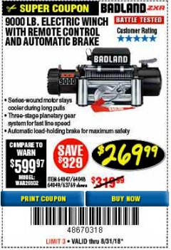 Harbor Freight Coupon BADLAND ZXR9000 9000 LB WINCH Lot No. 64047/64048/64049/63769 Expired: 8/31/18 - $269.99