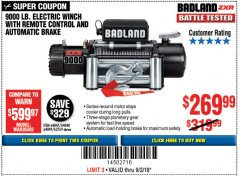 Harbor Freight Coupon BADLAND ZXR9000 9000 LB WINCH Lot No. 64047/64048/64049/63769 Expired: 9/2/18 - $269.99