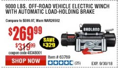 Harbor Freight Coupon BADLAND ZXR9000 9000 LB WINCH Lot No. 64047/64048/64049/63769 Expired: 9/30/18 - $269.99