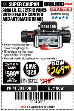 Harbor Freight Coupon BADLAND ZXR9000 9000 LB WINCH Lot No. 64047/64048/64049/63769 EXPIRES: 10/31/18 - $269.99