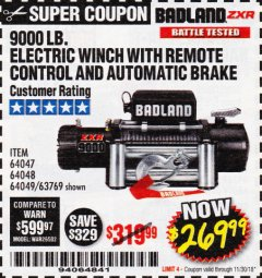 Harbor Freight Coupon BADLAND ZXR9000 9000 LB WINCH Lot No. 64047/64048/64049/63769 Expired: 11/30/18 - $269.99