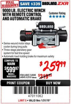 Harbor Freight Coupon BADLAND ZXR9000 9000 LB WINCH Lot No. 64047/64048/64049/63769 Expired: 1/31/19 - $259.99
