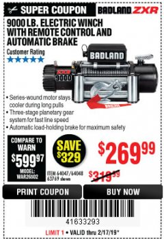 Harbor Freight Coupon BADLAND ZXR9000 9000 LB WINCH Lot No. 64047/64048/64049/63769 Expired: 2/17/19 - $269.99