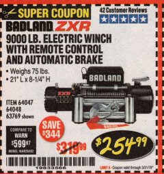 Harbor Freight Coupon BADLAND ZXR9000 9000 LB WINCH Lot No. 64047/64048/64049/63769 Expired: 3/31/19 - $254.99