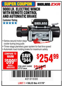 Harbor Freight Coupon BADLAND ZXR9000 9000 LB WINCH Lot No. 64047/64048/64049/63769 Expired: 4/1/19 - $254.99
