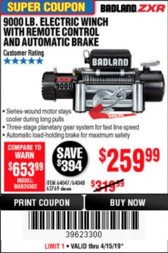 Harbor Freight Coupon BADLAND ZXR9000 9000 LB WINCH Lot No. 64047/64048/64049/63769 Expired: 4/15/19 - $259.99