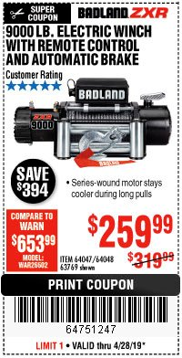 Harbor Freight Coupon BADLAND ZXR9000 9000 LB WINCH Lot No. 64047/64048/64049/63769 Expired: 4/28/19 - $259.99