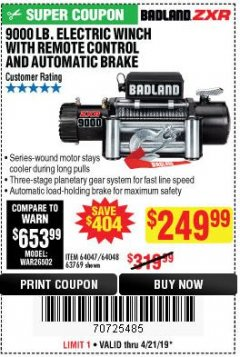 Harbor Freight Coupon BADLAND ZXR9000 9000 LB WINCH Lot No. 64047/64048/64049/63769 Expired: 4/21/19 - $249.99