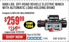 Harbor Freight Coupon BADLAND ZXR9000 9000 LB WINCH Lot No. 64047/64048/64049/63769 Expired: 6/30/19 - $259.99