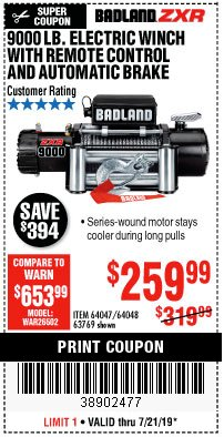 Harbor Freight Coupon BADLAND ZXR9000 9000 LB WINCH Lot No. 64047/64048/64049/63769 Expired: 7/21/19 - $259.99