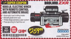Harbor Freight Coupon BADLAND ZXR9000 9000 LB WINCH Lot No. 64047/64048/64049/63769 Expired: 8/31/19 - $259.99