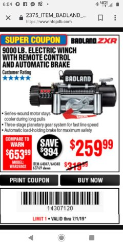 Harbor Freight Coupon BADLAND ZXR9000 9000 LB WINCH Lot No. 64047/64048/64049/63769 Expired: 7/1/19 - $259.99