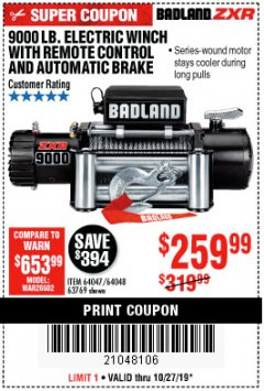 Harbor Freight Coupon BADLAND ZXR9000 9000 LB WINCH Lot No. 64047/64048/64049/63769 Expired: 10/27/19 - $259.99