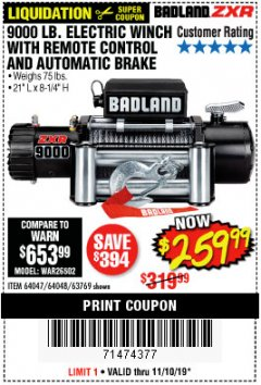 Harbor Freight Coupon BADLAND ZXR9000 9000 LB WINCH Lot No. 64047/64048/64049/63769 Expired: 11/10/19 - $259.99
