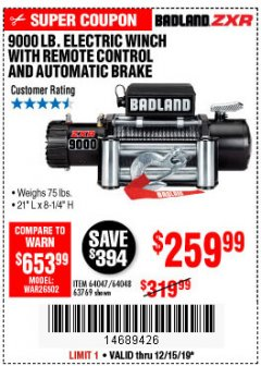 Harbor Freight Coupon BADLAND ZXR9000 9000 LB WINCH Lot No. 64047/64048/64049/63769 Expired: 12/15/19 - $259.99