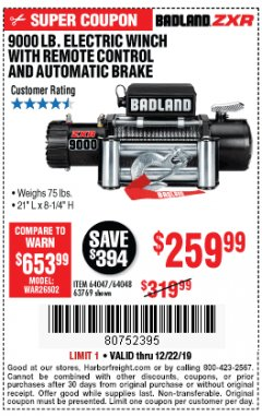 Harbor Freight Coupon BADLAND ZXR9000 9000 LB WINCH Lot No. 64047/64048/64049/63769 Expired: 12/22/19 - $259.99