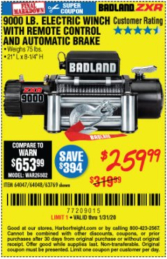 Harbor Freight Coupon BADLAND ZXR9000 9000 LB WINCH Lot No. 64047/64048/64049/63769 Expired: 1/31/20 - $259.99