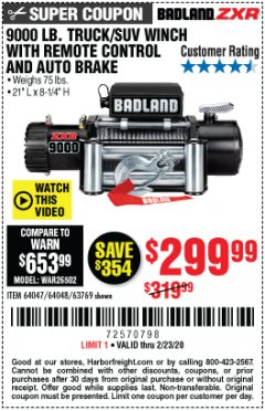 Harbor Freight Coupon BADLAND ZXR9000 9000 LB WINCH Lot No. 64047/64048/64049/63769 Expired: 2/23/20 - $299.99