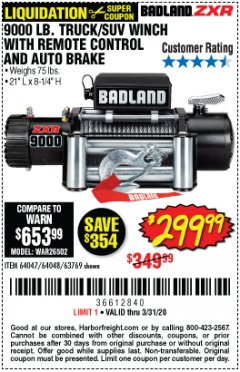 Harbor Freight Coupon BADLAND ZXR9000 9000 LB WINCH Lot No. 64047/64048/64049/63769 Expired: 3/31/20 - $299.99
