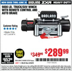 Harbor Freight Coupon BADLAND ZXR9000 9000 LB WINCH Lot No. 64047/64048/64049/63769 Expired: 6/30/20 - $289.99