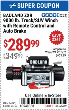 Harbor Freight Coupon BADLAND ZXR9000 9000 LB WINCH Lot No. 64047/64048/64049/63769 Valid: 6/1/20 - 7/5/20 - $289.99