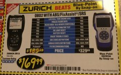 Harbor Freight Coupon ZURICH OBD2 SCANNER WITH ABS ZR13 Lot No. 63806 Expired: 5/31/18 - $169.99
