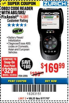 Harbor Freight Coupon ZURICH OBD2 SCANNER WITH ABS ZR13 Lot No. 63806 Expired: 6/17/18 - $169.99