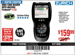 Harbor Freight Coupon ZURICH OBD2 SCANNER WITH ABS ZR13 Lot No. 63806 Expired: 11/25/18 - $159.99