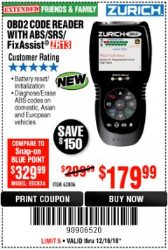 Harbor Freight Coupon ZURICH OBD2 SCANNER WITH ABS ZR13 Lot No. 63806 Expired: 12/16/18 - $179.99