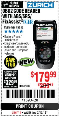 Harbor Freight Coupon ZURICH OBD2 SCANNER WITH ABS ZR13 Lot No. 63806 Expired: 2/17/19 - $179.99