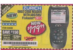 Harbor Freight Coupon ZURICH OBD2 SCANNER WITH ABS ZR13 Lot No. 63806 Expired: 4/13/19 - $179.99